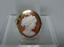 VICTORIAN PERIOD 18K YELLOW GOLD RING, HARDSTONE CARVED CAMEO - SIZE 8.5
