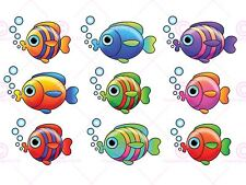 PAINTING CARTOON BUBBLE FISH COLLAGE ART PRINT POSTER MP5173A