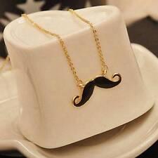 """MUSTACHE NECKLACE 2"""" Black Enamel Charm Pendant 27"""" Chain Handlebar Moustache"""