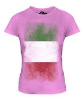 ITALY FADED FLAG LADIES T-SHIRT TEE TOP ITALIA FOOTBALL ITALIAN GIFT SHIRT