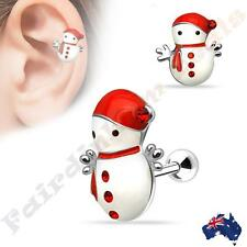 Silver Ion Plated Jewelled Christmas Snowman Tragus/Cartilage Stud