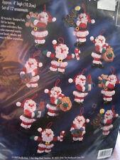 Bucilla Felt Applique Holiday Christmas ORNAMENT Craft KIT,LITTLE SANTAS,83667