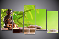 Frame Painting Green Bamboo Stone Buddha Zen Wall Art Picture Canvas Print Spa