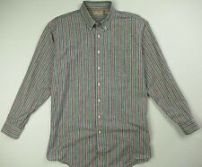 Vintage LL BEAN Striped Chambray Oxford Shirt Men's LT Large Tall - Made in USA