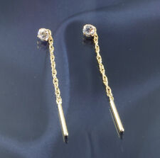 9ct Gold 3.5mm Cubic Zirconia Pull Through Earrings.