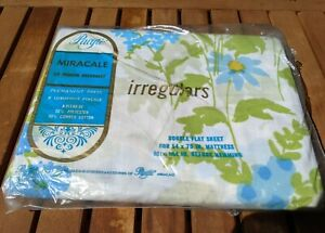 Vintage Pacific Miracle Percale Double Flat Sheet Blue Floral