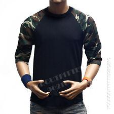 3/4 Sleeve S-3XL Camouflage Baseball T-Shirt  Raglan Plain Camo Tee Men's Sports