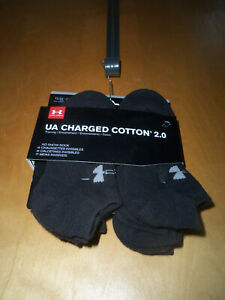 .6 PRS YOUTH UNDER ARMOUR CHARGED COTTON 2.0 NO SHOW  BLACK SOCKS 13.5K-4Y ~ NEW