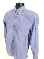 GAP Shirt Mens Size S Small Blue Striped Button Front Long Sleeve