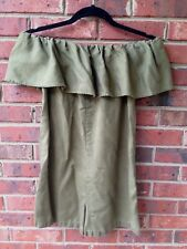 Zara Woman Off Shoulder Ruffle Romper Shorts Army Green Size XS