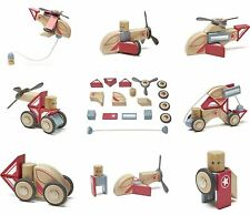 Tegu Skyhook Magnetic Naturally Wooden Action Blocks Collection Open Stunt Team
