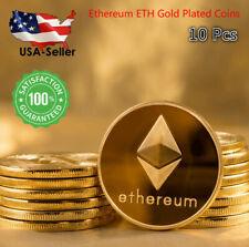 10 PCS Ethereum ETH Coins 2021 Commemorative Collectors Gold Plated BitCoins