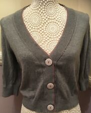 Next Size 12 100% Cotton Soft Designer Buttoned Cardigan - Grey