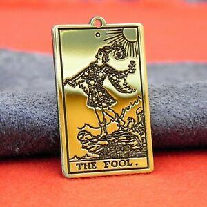 Tarot Deck Card The Fool, handmade, Major arcana, brass charm, necklace, jewelry