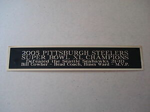 Pittsburgh Steelers Super Bowl 40 Nameplate For A Football Display Case 1.5 X 8