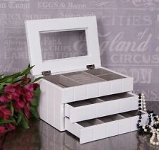 Extra Large White Wooden Jewellery Box Display Drawer mirror Gift
