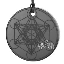 Metatron's cube Russian Shungite Necklace Engraved on Both sides Tolvu