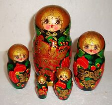 "Beautiful Russian Nesting Doll ~ 5pc ~ 6.5"" ~ Very Nice ~ Hand Painted"