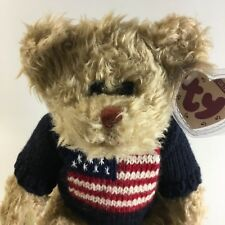 "Ty Attic Treasures Collection Grant Jointed Bear 14"" Plush w/ Flag Sweater VTG"