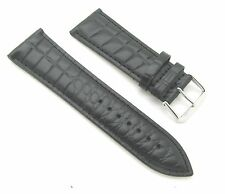 26mm Black Crocodile Grain Leather Watch Band with Spring Bars