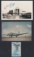 KLM Airlines DC-4 Postcard and LaGuardia Airport Photo signed Captain Ron George