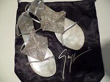 GIUSEPPE ZANOTTI  Crystal-Paneled Silver Metallic Leather Sandals NWOB