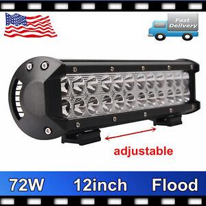 "2X 12"" 72W LED Work Light Bar Flood Offroad Truck Fog Driving SUV Boat PK SPOT"