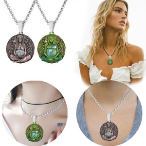 Ladies Mother Earth Statue Ethereal Gaia Home Goddess Metal Pendant Necklace AU