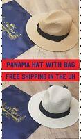 Mens Ladies Fedora Crushable Straw Panama Style Sun Hat Summer Hat & Travel bag