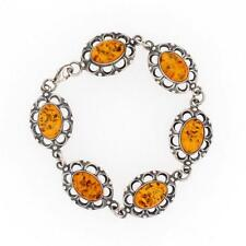 Gold Amber Bracelet Sterling Silver .925 Jewelry Made in Poland Lobster Claw