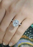 2.00 Ct Oval Cut Diamond Halo Engagement Ring For Women's 14k White Gold Finish