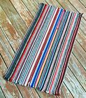 "Vtg Braided rug Striped Multi Color mat 44' X 24"" scatter reversible primitive"