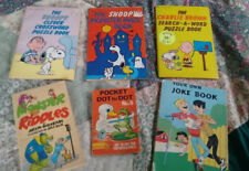 Vintage PEANUTS Snoopy Charlie Brown puzzle maze  Book Lot monster jokes more