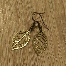 Beautiful boho filigree leaf earrings bronze lightweight