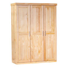 Grande armoire 3 portes avec penderie et 3 étagères en pin massif vernis naturel