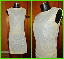 Vtg 70s MOD Crochet Lace Cocktail 2pc DRESS SKIRT BLOUSE TOP