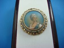 HAND PAINTED MINIATURE PORTRAIT 14K GOLD WITH SEED PEARLS ANTIQUE BROOCH-PENDANT