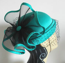 VINTAGE HAT 1960's BURLESQUE BLUE GREEN & BLACK HAT LARGE EMBELLISHMENT ON BACK