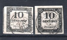 "FRANCE STAMP TIMBRE TAXE YVERT 1 / 2 "" 10c NOIR LITHO + TYPO "" OBLITERES TB T530"