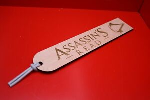 """Wooden Bookmarks Assassins Creed """"Assassin's Read"""" Plywood Leather Tassel"""