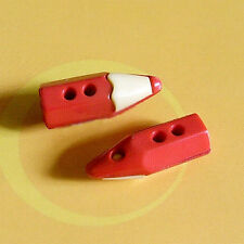 20 Pencil Stationery Crayon Pen Kid Craft Sew On Buttons Red / White K826