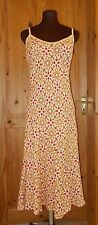 PER UNA M&S cream orange yellow polka dot spotted long LINEN holiday dress 12R