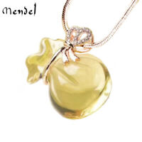 Sterling Silver Genuine Natural Yellow Citrine Crystal Pendant Necklace Jewelry