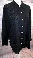 MARIELLA BURANI Vintage Blouse Long Sleeve Button Front Black Eyelet Italy Sz 10
