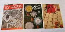 Antique 1940's Crochet Books Lot of 3 Potholders Rugs Doilies #1