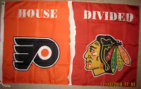 PHILADELPHIA FLYERS vs CHICAGO BLACKHAWKS 3x5 FLAG BANNER HOUSE DIVIDED PHIL CHI