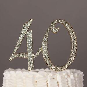 Happy 40th Birthday Cake Topper Gold 40 Anniversary Party Decor Crystal Numbers