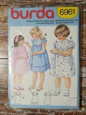 Burda Sewing Pattern 6961 Child's Dress  Sizes 18 m +2+3+3/4+4+6 Uncut
