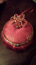 Brand New Chinese Silk Jewelry Box with Mirror - RED