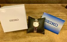 Seiko SRZ534 Women's Two Tone Watch Mother Of Pearl Dial With Real Diamonds
